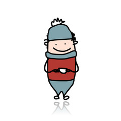 Cute boy with cup of tea, cartoon for your design