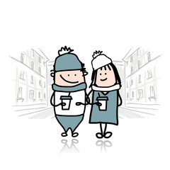 Couple walking in city with coffee cups