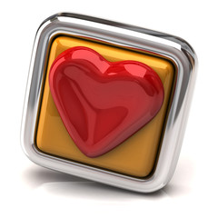 Heart on orange button