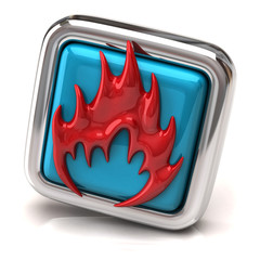 Red fire symbol on blue button