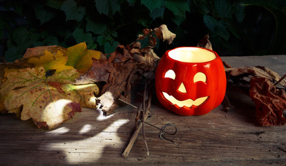 Halloween pumpkin with autumn leaves on old wooden table
