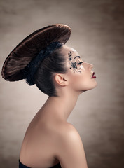 Beautiful woman with disc hairstyle