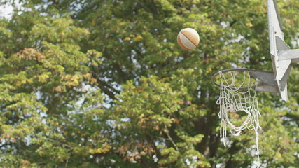 Basketball sailing through the air in slow motion