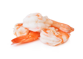 Boiled shrimp isolated on white background