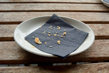 Crumbs left on plate