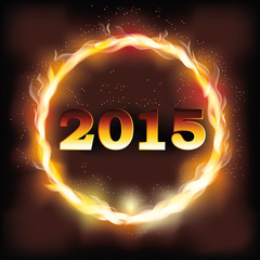 Fire 2015 new year background, vector illustration