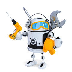 Construction robot with tools. Isolated. Contains clipping path