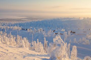 Beautiful vibrant sunny scandinavian winter aerial landscape wit