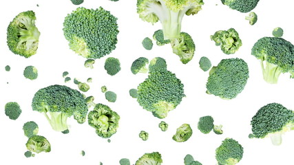 Falling Broccoli with transition (and blue background)