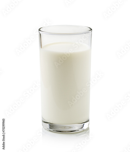 Leinwandbild Motiv glass of milk isolated on white background