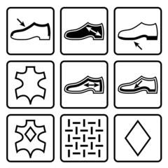 Shoes properties symbols. Icons indicate properties of footwear.