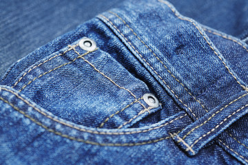 Close up of belt loop on jeans.