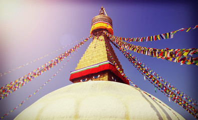 Vintage filtered picture of Boudhanath Stupa, symbol of Kathmand