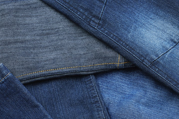 Close up of variety of denim.
