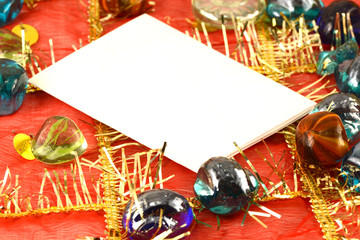invitation card on christmas background, new year card
