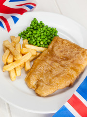 fish and chips and union jack flags