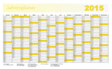 Jahresplaner 2015 in gelb