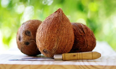 Three coconuts and a knife