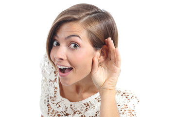 Gossip woman hearing with hand on ear