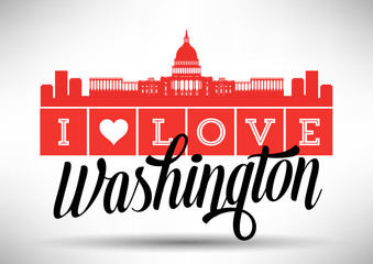 I Love Washington Skyline Design