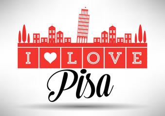 I Love Pisa Skyline Design