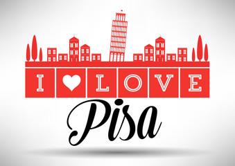 I Love Pisa Skyline Design