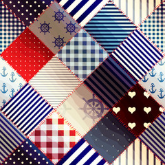 Diagonal patchwork in nautical style.