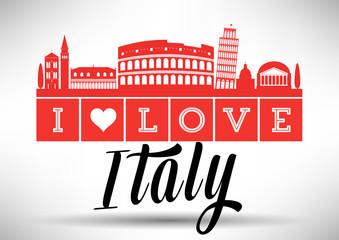 I Love Italy Skyline Design