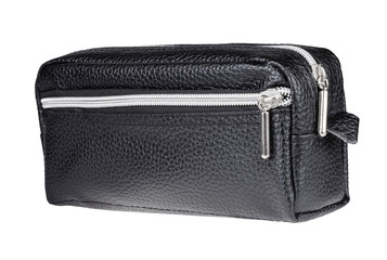 leather pen case isolated on white background