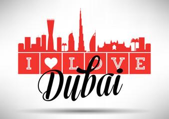 I Love Dubai Skyline Design