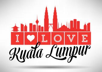 I Love Kuala Lumpur Skyline Design