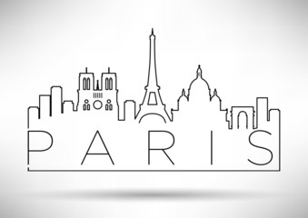City of Paris Minimal Skyline Design