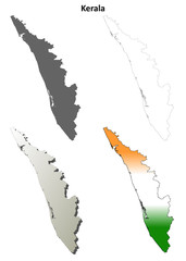 Kerala blank detailed outline map set