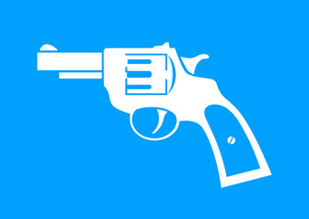 White revolver icon on blue background