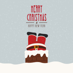 santa stuck in chimney vintage snow background