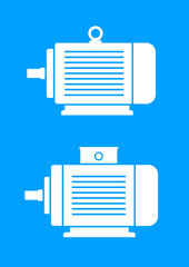 White electric motor icons on blue background