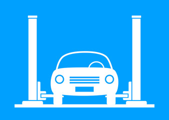 White car service on blue background