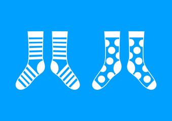 White socks on blue background