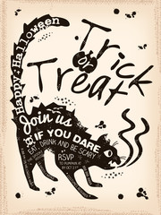 Halloween Trick or Treat Black cat background Illustration