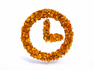 autumn leaf clock symbol with white background