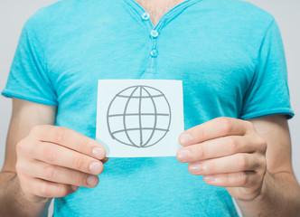Internet icon pattern in hand