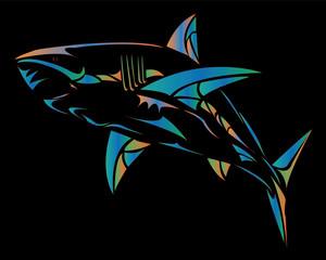 Strong shark sports mascot.