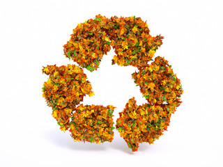 3d Autumn recyclation symbol