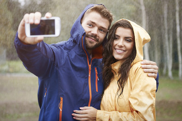 Selfie with my beautiful girlfriend in rainy day