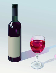Bottle Of Red Wine With Filled Wineglass