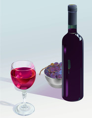 Bottle With Glass Of Red Wine And Bowel Of Grape