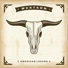 Vintage Western Bull Skull