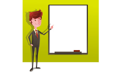 Businessman on presentation with white board