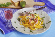 canvas print picture - Spaghetti Schinken-Sahne-Sauce