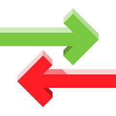 Arrows parallel opposite concept